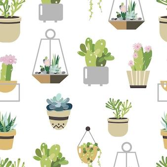 多肉植物とサボテンのシームレスパターン。