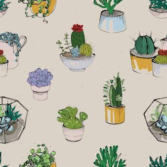 さまざまな手描きの多肉植物とサボテンの植物とシームレス