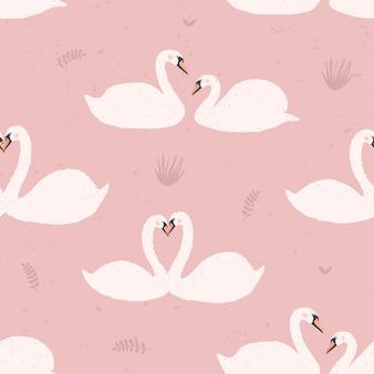 白い白鳥とのシームレスなパターン。ピンクの背景の白鳥のカップル。カラフルなイラスト。