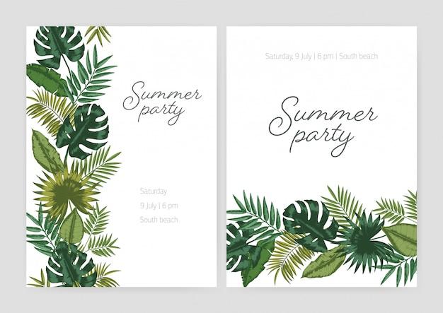 Набор летней вечеринки приглашение, плакат, флаер шаблоны с границами