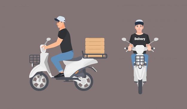 制服の乗馬スクーターに身を包んだ配達人。白い背景に分離された現代のモーター原付けに座っている帽子の宅配便少年。正面図と側面図。フラットな漫画のスタイルのカラフルなイラスト。