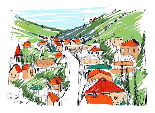 Эскиз горного пейзажа с грузинского города цветной рисованной. красивый монохромный рисунок со зданиями и улицами небольшого города, расположенного между холмами. иллюстрации.