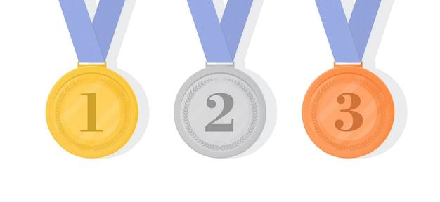 Золотые, серебряные и бронзовые наградные медали с лентами. первая секунда
