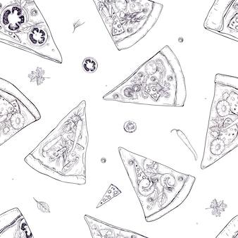 白い背景の上に散らばってさまざまなピザの種類や食材のスライスと白黒のシームレスなパターン。レストランやピザ屋のメニュー、配信サービスのイラスト。