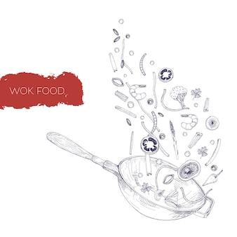 中華なべ平なべと野菜、きのこ、麺、スパイスを揚げて投げるモノクロのリアルな絵。輪郭線でアンティークスタイルで描かれた中国の調理容器手。図。