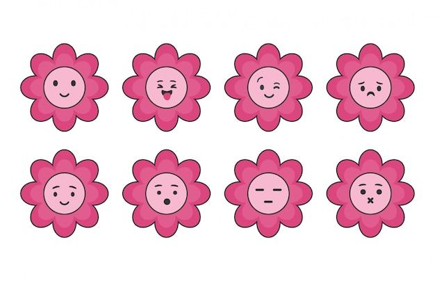 かわいいピンクの花のアイコンのセットです。