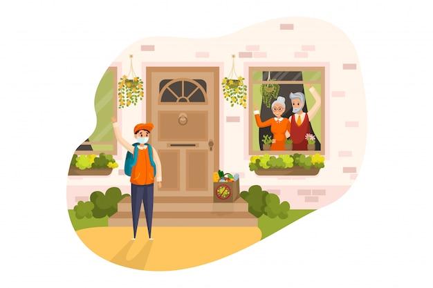 Дом, еда, доставка, концепция карантина