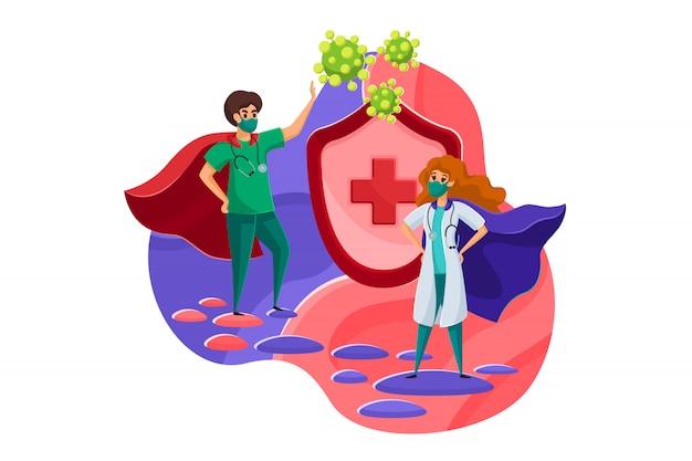 医療、医学、保護、コロナウイルスのコンセプト