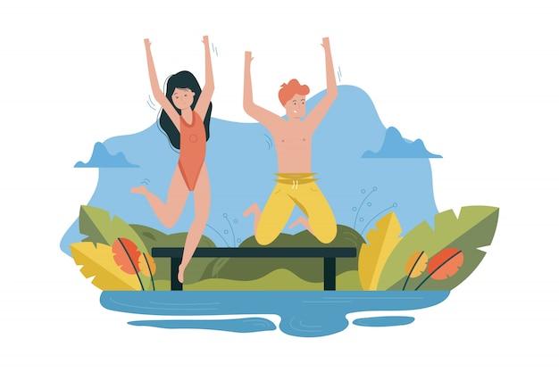 カップル、愛、休日、夏、レクリエーション、楽しいコンセプト