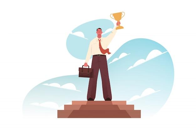 成功、お祝い、勝利、目標達成、ビジネスコンセプト。