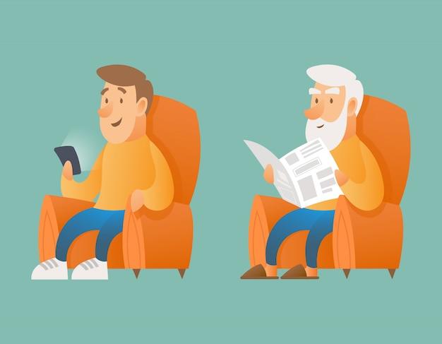 Молодой человек и дедушка читают газету. иллюстрация разных поколений.