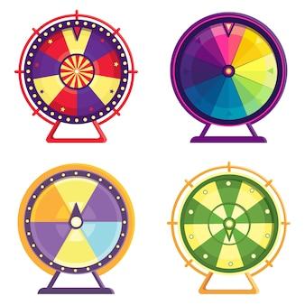 Разные колеса фортуны. набор красочных объектов в мультяшном стиле.