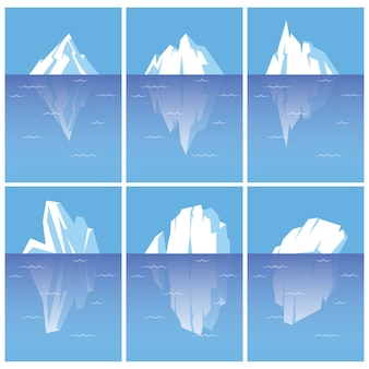 水中部分と氷山のセット。白い背景で隔離のフラットスタイルのイラスト。