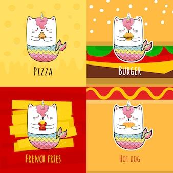 かわいい猫の人魚ユニコーンはホットドッグを食べる