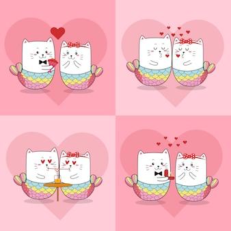 バレンタインデーのためのかわいい猫人魚カップル
