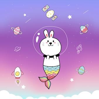 かわいいウサギの人魚と空間の背景