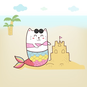 パステルカラーのビーチでかわいい猫の人魚