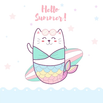 ビーチでサーフボードを持ってかわいい猫人魚
