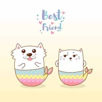 かわいい猫と犬の人魚漫画手描き