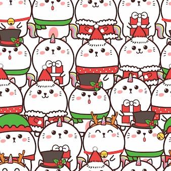 Симпатичный кот единорога бесшовный фон на рождество
