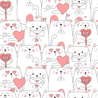 バレンタインの日にシームレスなかわいい猫漫画パターン。