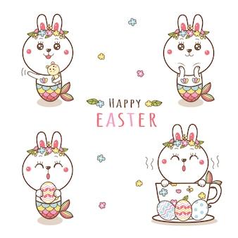 Симпатичные кролик русалка мультфильм рисованной с пастельные цвета на пасху.