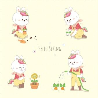 Милый кролик-единорог садоводство на весну