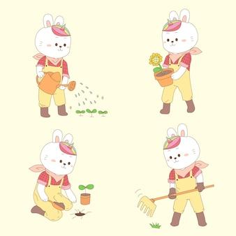 Милый кролик единорог садоводство на весну