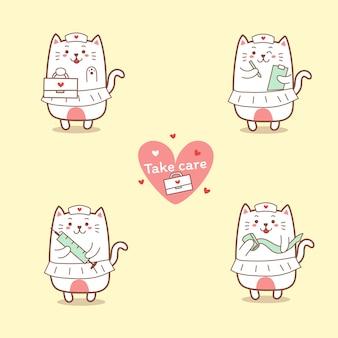 Симпатичная медсестра кошка мультфильм рисованной