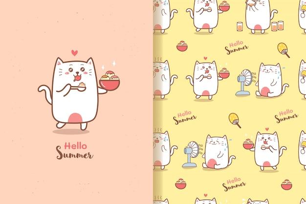 Милый кот мультфильм лето бесшовные модели едят мороженое с фоном сладких цветов