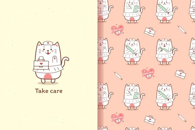 Симпатичная медсестра кошка мультфильм рисованной с элементами бесшовный фон
