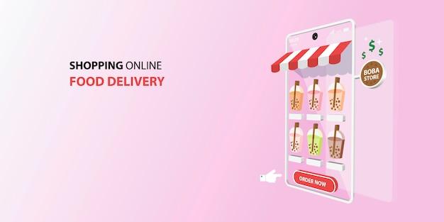 Покупки онлайн на мобильном приложении. концепция доставки еды