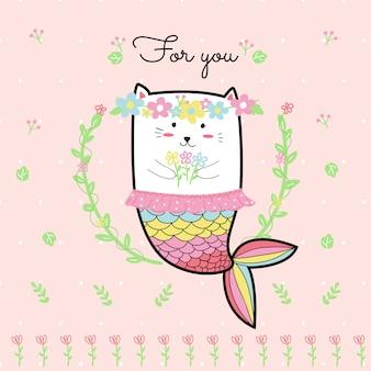 Симпатичная кошачья русалка с цветком и розовым фоном