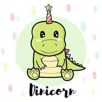 Диникорн милый мультфильм, зеленый динозавр
