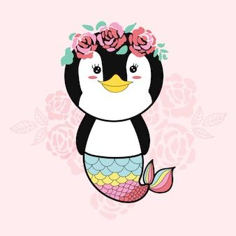 ペンギンの人魚かわいい手描きの漫画