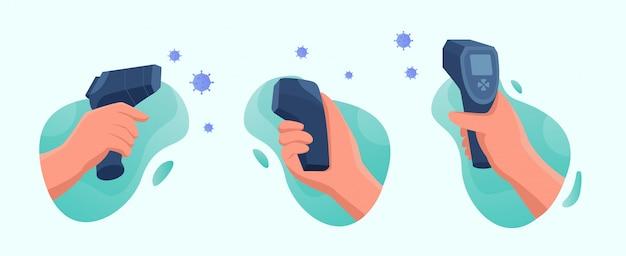 Проверьте температуру тела с помощью цифрового инфракрасного термометра