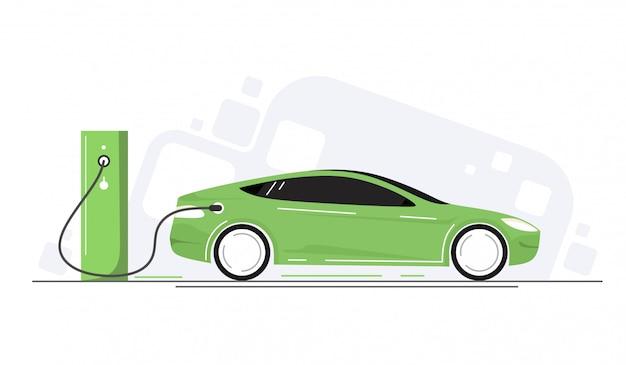 エコカー、電気自動車。輸送のためのグリーンエネルギーの概念。