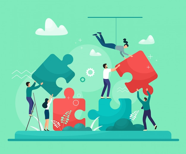 ビジネスコンセプトです。パズルの要素をつなぐ人々。チームワーク、パートナーシップ、協力の象徴。トレンドカラーで白い背景に分離します。