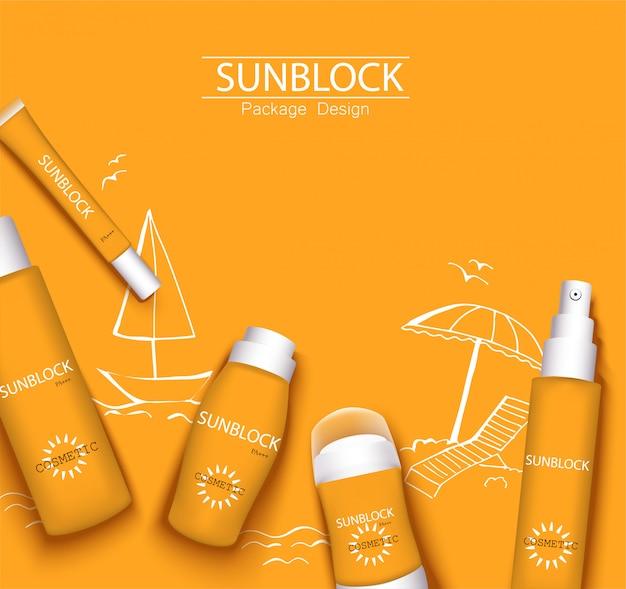モノカラーオレンジのトレンディなイラスト、太陽保護化粧品包装デザインテンプレート。日焼け止めと日焼け止めクリーム、スプレー、ミルク、制汗剤
