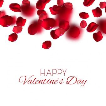 バレンタインの日にお祝いの美しいプレミアムイラスト。落ちてくるリアルなバラの花びら。ベクトルイラスト。