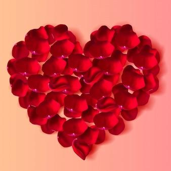 バレンタインの日にお祝いの美しいプレミアムイラスト。現実的なバラの花びらから作られた心の平面図。ベクトルイラスト。
