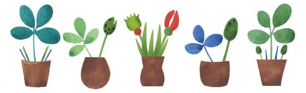色とりどりの花と小さな鍋