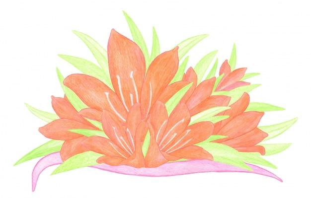 オレンジ色のユリの花、緑の葉、ピンクのリボンと水彩の花束