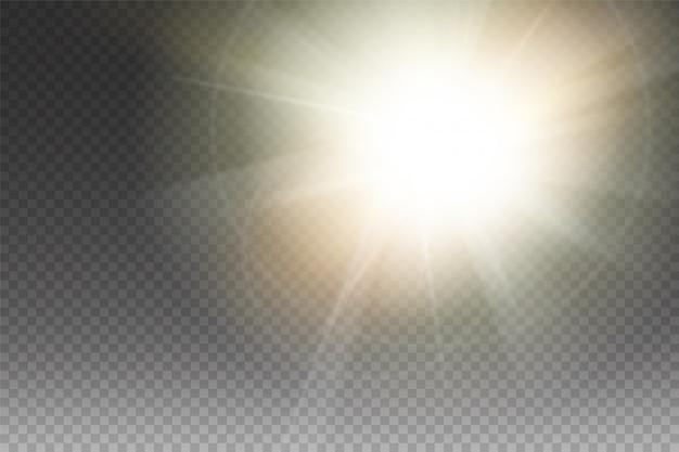 Желтый светящийся свет разразился взрывом с прозрачным. иллюстрация для прохладного эффекта украшения с лучами блестками. яркая звезда. прозрачный блеск, градиентный блеск, яркие блики. блики текстуры.