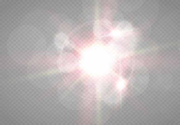Прозрачный солнечный свет специальный эффект вспышки объектива. размытие в свете сияния. элемент декора. горизонтальные звездные лучи и прожектор.