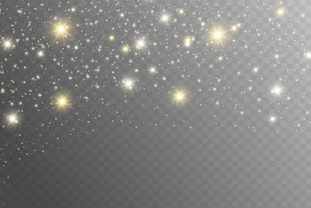 Желтые искры сверкают особым световым эффектом. сверкает на прозрачном фоне. рождественский абстрактный узор. сверкающие частицы волшебной пыли -