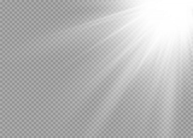 孤立した白い透明な光の効果セット、レンズフレア、爆発、キラキラ、ライン、太陽の閃光、火花、星を輝きます。抽象的な特殊効果要素のデザイン。雷で光線を照らす