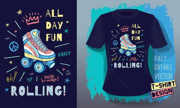 Ролики, девушки, кататься, скейтборд в стиле эскиза каракулей прикольные надписи лозунги для дизайна футболки