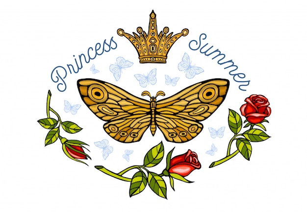 黄金の冠、蝶の黄金刺繍