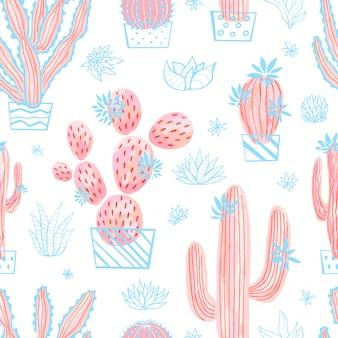 サボテン多肉野生のシームレスパターン花パステルカラー水彩ピンクコレクション。